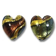 2 Murano Glass 24kt Gold Foil Blue 14mm Amethyst Hearts
