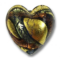 1 Murano Glass 24kt Gold Foil 20mm Blue Amethyst Heart