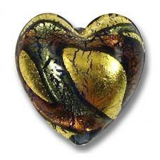 1 Murano Glass 24kt Gold Foil 20mm Blue Amethyst Heart