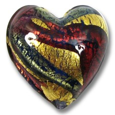 1 Murano Glass 20mm 24kt Goldfoil Blue Ruby Heart