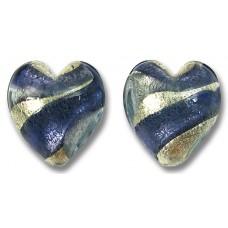 2 Murano Glass White Gold Foiled Purple Velvet and Alexandrite 14mm Heart Beads