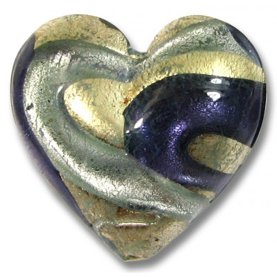 1 Murano Glass White Gold Foiled Purple Velvet and Alexandrite 24mm Heart Bead