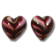 2 Murano Glass Red Gold Aventurine 14mm Feathered Hearts