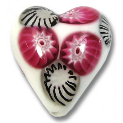 1 Murano Glass White with Ruby Black Millefiore 20mm Heart