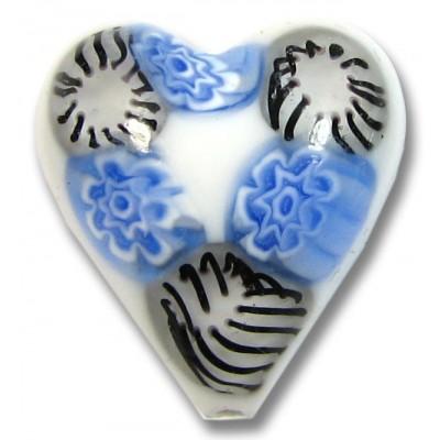 1 Murano Glass White with Blue Black Millefiore 20mm Heart