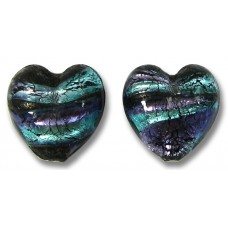 2 Murano Glass White Goldfoil Purple Velvet Verde 14mm Hearts