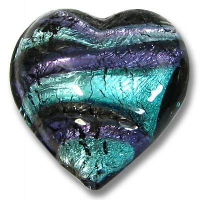 1 Murano Glass White Goldfoil Purple Velvet Verde 20mm Heart