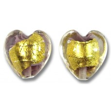 2 Murano Glass Light Amethyst 24kt Goldfoil Clear Cased 14mm Hearts