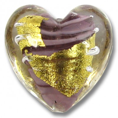 1 Murano Glass Light Amethyst 24kt Goldfoil Clear Cased 20mm Heart