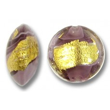 1 Murano Glass Light Amethyst 24kt Goldfoil Clear Cased 14mm Lentil Bead