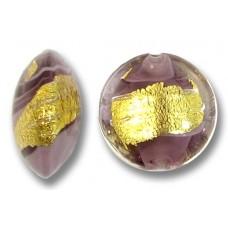 1 Murano Glass Light Amethyst 24kt Goldfoil Clear Cased 14mm Lentil Bead