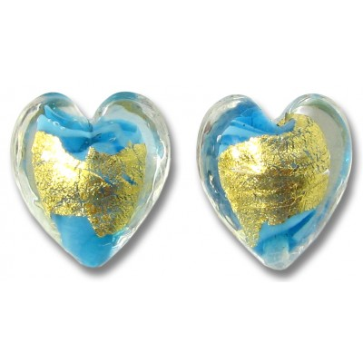2 Murano Glass Turquoise 24kt Goldfoil Clear Cased 14mm Hearts