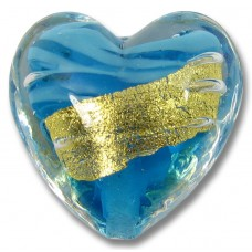 1 Murano Glass Turquoise 24kt Goldfoil Clear Cased 20mm Heart