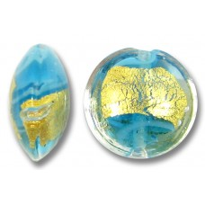 1 Murano Glass Turquoise 24kt Goldfoil Clear Cased 14mm Lentil Bead