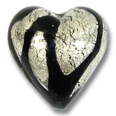 1 Murano Glass 20mm Clear Cased White Gold Foiled Black Drizzle Design Heart