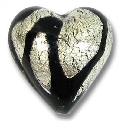 1 Murano Glass 20mm Clear Cased White Gold Foiled Black Drizzle Design Heart