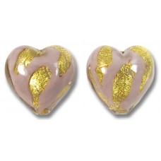 2 Murano Glass 14mm Opaque Light Amethyst 24kt Gold Foiled Hearts