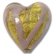 1 Murano Glass 20mm Opaque Light Amethyst 24kt Gold Foiled Heart