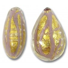 1 Murano Glass 20mm Opaque Light Amethyst 24kt Gold Foiled Drop Bead