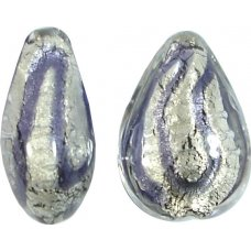 1 Murano Glass 20mm White Gold Foiled Purple Velvet Drop Bead