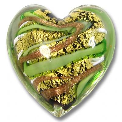 1 Murano Glass 24kt Gold Foil 20mm Green Gold Aventurine Heart