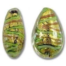 1 Murano Glass 24kt Gold Foil 20mm Green Gold Aventurine Drop Bead