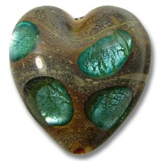1 Murano Glass 20mm White Gold Foiled Window Heart Verde