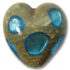 1 Murano Glass 20mm White Gold Foiled Window Heart Aqua