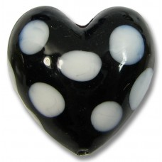 1 Murano Glass 20mm Black and White Spotted Heart Bead
