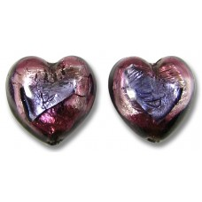 1 Pair Murano Glass White Gold Foiled 14mm Purple Amethyst Hearts