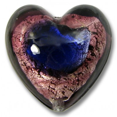 1 Murano Glass 20mm White Gold Foiled Purple Amethyst Heart