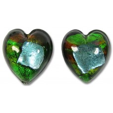 1 Pair Murano Glass White Gold Foiled 14mm Terra Firma Hearts