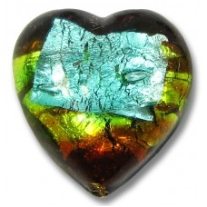 1 Murano Glass 20mm White Gold Foiled Terra Firma Heart