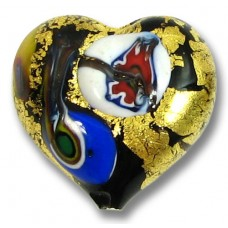 1 Murano Glass 24kt Gold Foiled Millefiore Heart