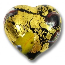 1 Murano Glass 24kt Gold Foiled Millefiore Heart