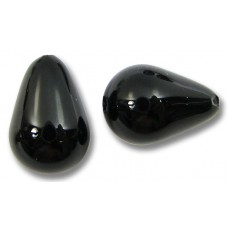 2 Murano Glass Black Small Drops