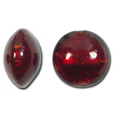 1 Murano Glass Dark Ruby Goldfoil 14mm Lentil