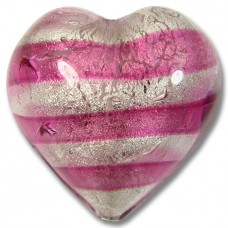 1 Murano Glass Rose Silver Foiled 28mm Heart