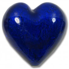 1 Murano Glass White Goldfoil Cobalt 28mm Heart Bead