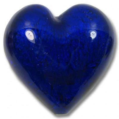 1 Murano Glass White Goldfoil Cobalt 28mm Heart Bead