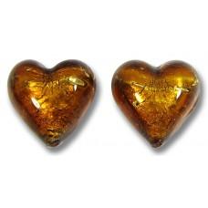 Pair Murano Glass  Dark Topaz Gold Foiled 14mm Hearts