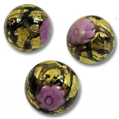 1 Murano Glass Klimt 10mm Round Bead