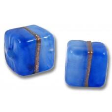 Pair Murano Glass Provence Blue Aventurine Satin 8mm Cube Beads