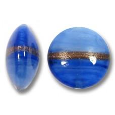1 Murano Glass Provence Blue Aventurine Satin 14mm Lentil