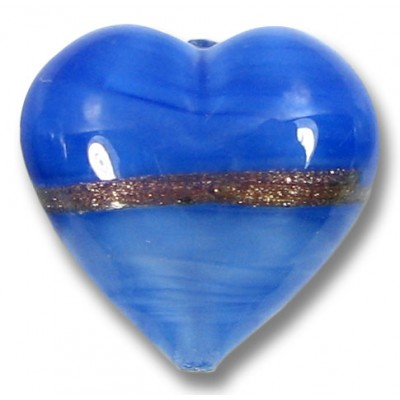 1 20mm Murano Glass Provence Blue Aventurine Satin Heart