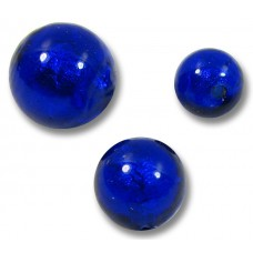 1 Murano Glass Cobalt Blue White Gold Foiled 12mm Round Bead