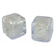 Pair Murano Glass Alexandrite White Gold Foiled Cube Beads