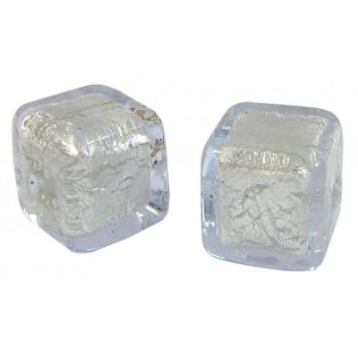 Pair Murano Glass Alexandrite White Gold Foiled 8mm Cube Beads