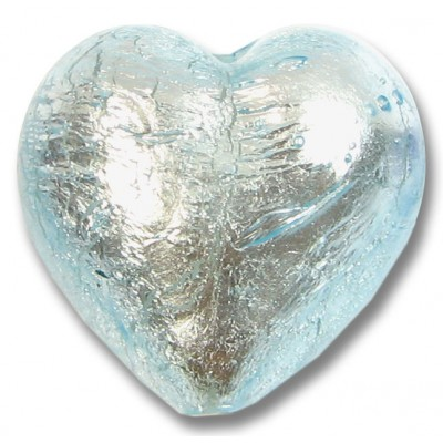 1 Murano Glass Aquamarine Silver Foiled 28mm Heart