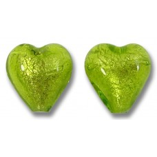 Pair Murano Glass Lime White Gold Foiled 10mm Heart Beads